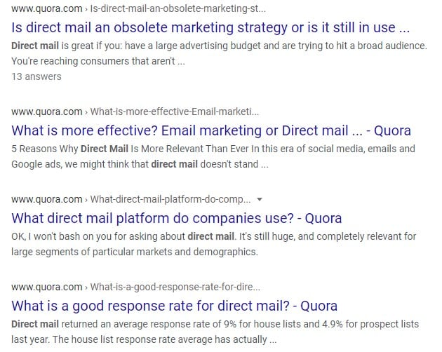 quora direct mail questions